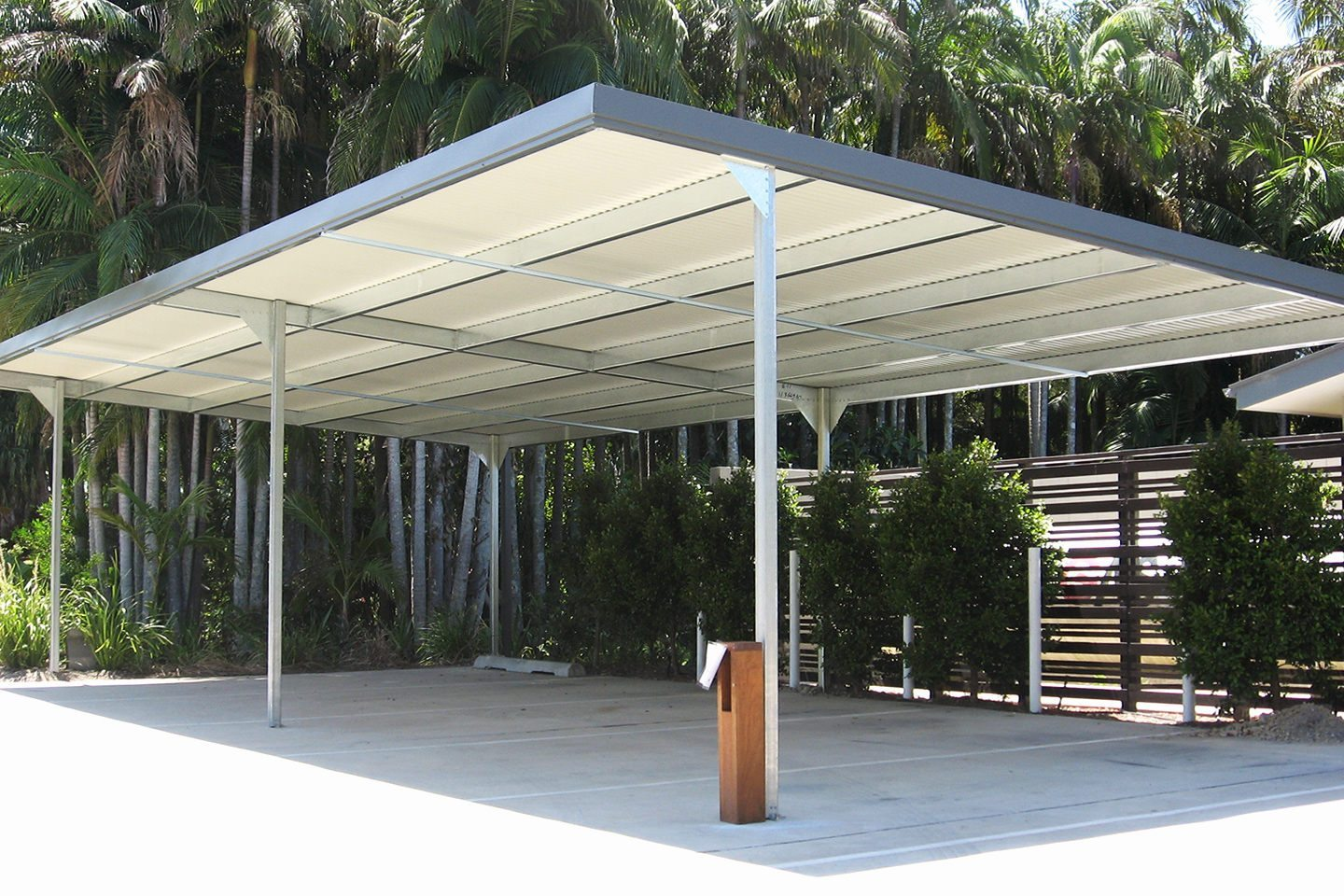 cantilevered skillion carport