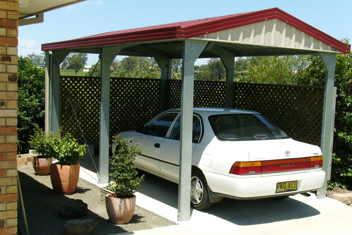 Single Deluxe Gable Carport with Gable Infills