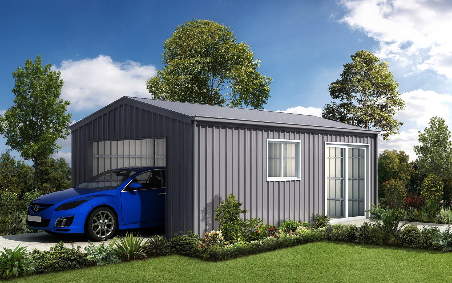 Single sheds and garages for sale ranbuild for Single garage with carport